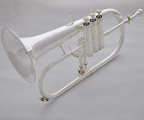 FidgetGear Professional Silver Flugel horn Monel Valves Bb Flugelhorn with Trigger + case