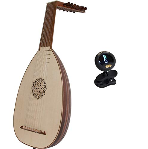 Roosebeck Package Includes: Roosebeck Solid Canadian Cedar 8-course Lute W/Gig Bag & Play Book + Snark Clip-On Chromatic tuner for Guitar, Lute, Oud & Dulcimer