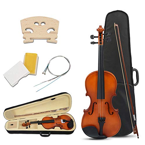 Apelila Full Size 4/4 Acoustic Violin Music Instrument Fiddle Gloss Solid Wood With Case Bow Rosin for Beginner(Natural)