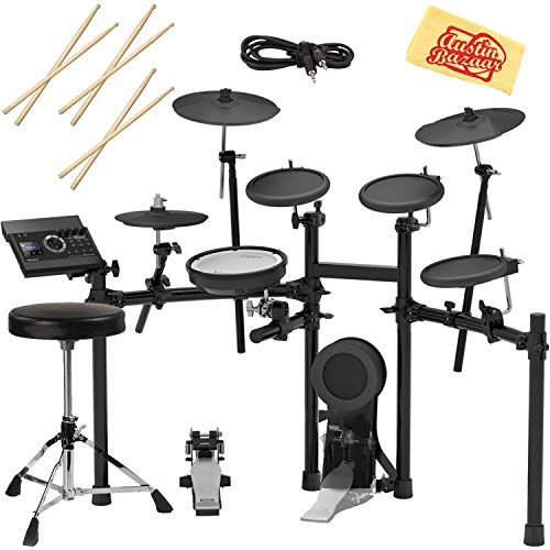 Roland TD-17KL Electronic Drum Set Bundle with Drum Throne, 3 Pairs of Sticks, Audio Cable, and Austin Bazaar Polishing Cloth