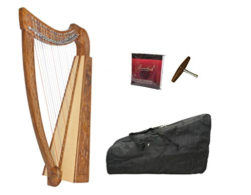 Celtic Irish Heather Harp Package Include: Roosebeck Celtic Irish Style Heather Harp, 22-String – Solid Walnut + Roosebeck Gig Bag For Heather Harp