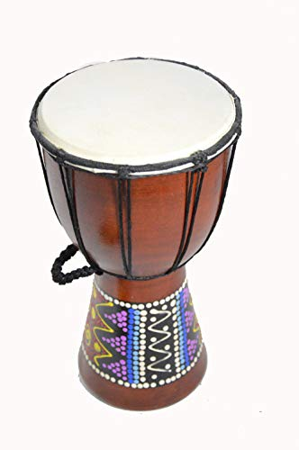CLEARANCE 12″ DOTTED DJEMBE DRUM BONGO HAND CARVED AFRICAN ABORIGINAL ART DESIGN