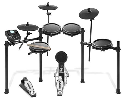 Alesis Drums Nitro Mesh Kit | Eight Piece All-Mesh Electronic Drum Kit With Super-Solid Aluminum Rack, 385 Sounds, 60 Play-Along Tracks, Connection Cables, Drum Sticks & Drum Key included (Renewed)