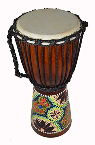 15″ DJEMBE DRUM BONGO HAND CARVED AFRICAN ABORIGINAL DOT ART DESIGN close out clearance