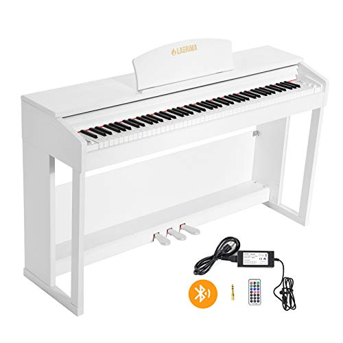 LAGRIMA 88 Keys Weighted Action Digital Piano with Bluetooth & MP3 Function, 2 Headphone/Midi/MIC Output Feature, Can Use with Wireless Headphones, White
