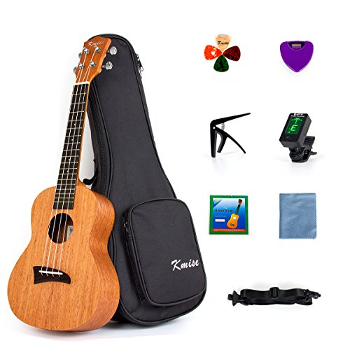 Kmise Ukulele Concert Ukelele 23 Inch Uke Hawaiian Hawaii Guitar Mahogany with Bag