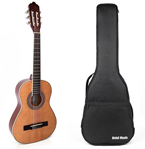 Classical Guitar with Soft Nylon Strings by Hola! Music, Half 1/2 Size 34 Inch for Junior Kids Model HG-34GLS, Natural Gloss Finish – FREE Padded Gig Bag Included
