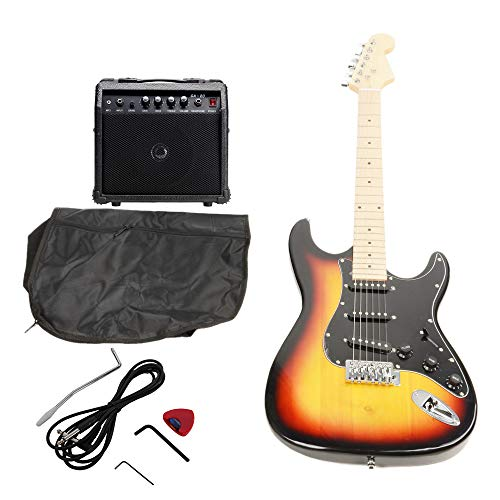 ISIN Full Size Electric Guitar for Beginner with Amp and Accessories Pack Guitar Bag (Gold)