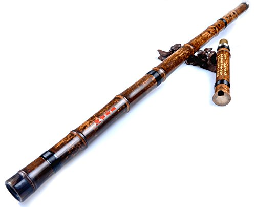 OrientalMusicSanctuary ATTESTED: Dong Xue Hua Performers' Level Purple Bamboo Xiao Flute – Chinese Shakuhachi Xiao Flute (Right Handed Key of F)