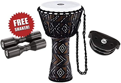 Meinl Percussion Djembe Bundle with Foot Tambourine and Free Shaker, Travel Series – NOT MADE IN CHINA – All Weather Head/Shell, 2-YEAR WARRANTY Percussion Package 10″ x 20″ KSDB10