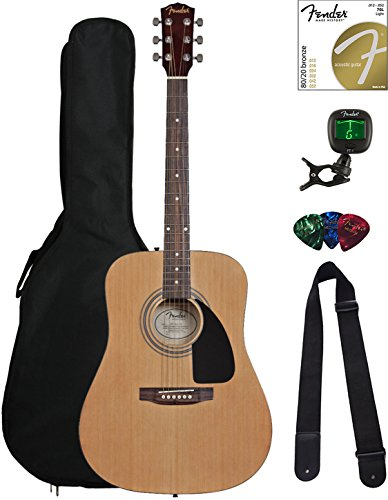 Fender FA-115 Dreadnought Acoustic Guitar – Natural Bundle with Gig Bag, Tuner, Strings, Strap, and Picks