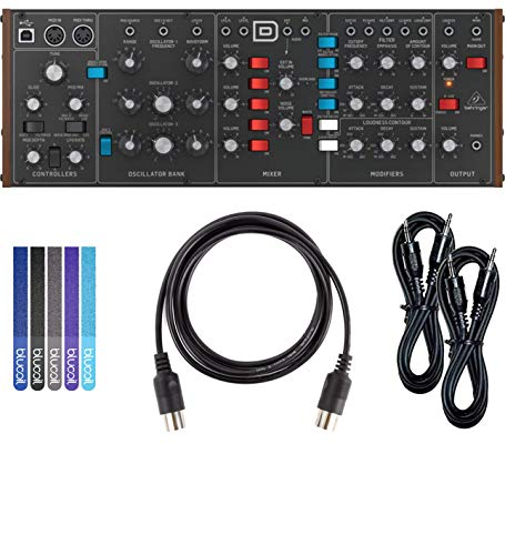 Behringer MODEL D Monophonic Synthesizer Bundle with Hosa 3-Ft CMM-103 TRS to TRS Stereo Interconnect Cable (2-Pack), Blucoil 5-Ft MIDI Cable and 5 Pack of Cable Ties