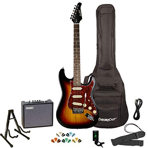 Sawtooth Sunburst Electric Guitar with Tortoise Pickguard – Includes Accessories, Amp, Gig Bag and Online Lesson