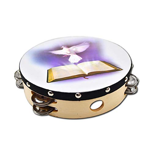 Lorchwise 10 Inch Wooden Tambourine – Double Row Jingles for Adults and Kids