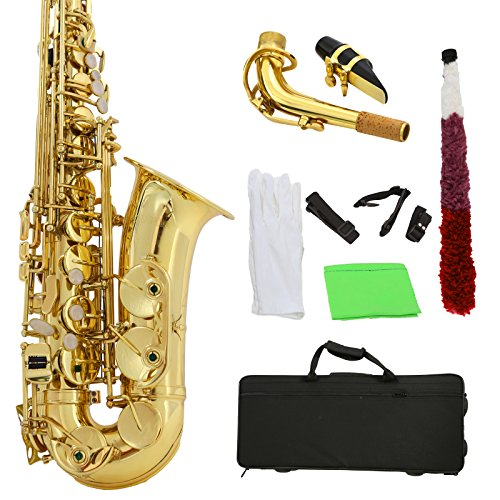 LAGRIMA Professional Alto Eb Gold Sax Saxophone with White Gloves, Cleaning Cloth, Cleaning Swab, Case, Mouthpiece, Neck Strap for Beginner Adult