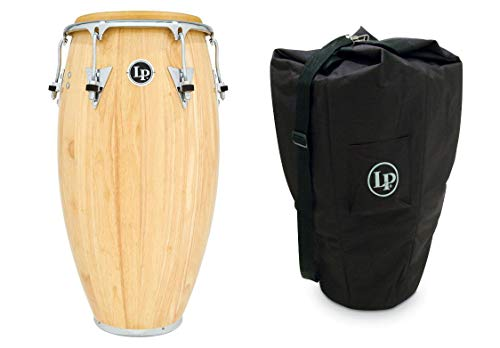 11 3/4″ LP Classic Model Wood Conga Drum – Natural/Chrome + Latin Percussion Conga Bag