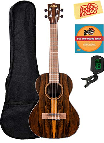 Kala KA-ZCT-T Ziricote Tenor Ukulele Bundle with Gig Bag, Tuner, Austin Bazaar Instructional DVD, and Polishing Cloth