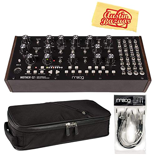 Moog Mother-32 Semi-Modular Eurorack-Format Analog Synthesizer Bundle with Gig Bag, Cable Set, and Austin Bazaar Polishing Cloth