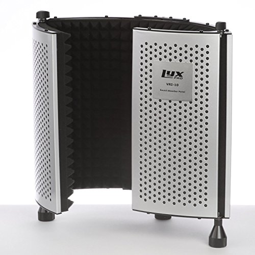 LyxPro VRI-10 Portable Adjustable Sound Absorbing Vocal Recording Panel Acoustic Isolation Microphone Foam Shield – Stand Mount or Desktop Desk Use