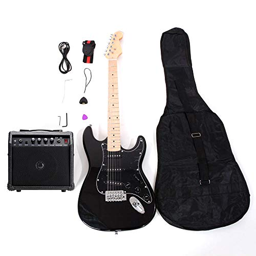 ISIN Full Size Electric Guitar for Music Lover Beginner with Amp and Accessories Pack Guitar Bag (Black)