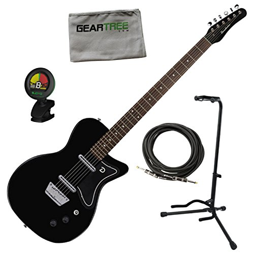 Danelectro 56 Baritone Electric Guitar Black w/Stand, Cable, Tuner, and Cloth