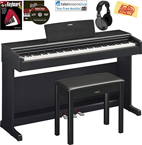 Yamaha Arius YDP-144 Traditional Console Digital Piano – Black Bundle with Furniture Bench, Headphones, Fast Track Music Book, Online Lessons, Austin Bazaar Instructional DVD, and Polishing Cloth
