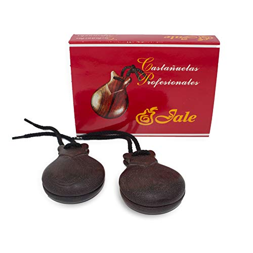 Ole Ole Flamenco Castanets Jale Wood Professional Authentic Brown Granadillo Wood Flamenco Spanish Castanets Castañuelas de Madera Granadillo Marron Size T-6 Woman Adult