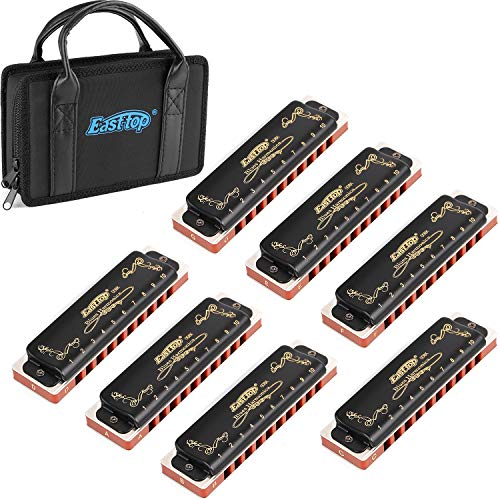 Harmonica Sets of 7 Keys Professional Harmonica 10 Hole 20 Tone Blues Harp Key of A B C D E F G for Professional Player,Beginner,Students,Children,Kids Gift(East Top)- Black