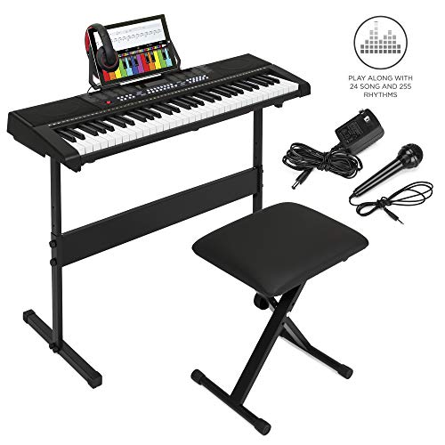 Best Choice Products 61-Key Beginner Electronic Keyboard Set w/Teaching Modes, Stand, Stool, Music Stand, Headphones