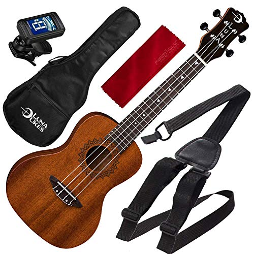 Luna Uke Vintage Mahogany Concert Acoustic Ukulele Pack with Ukulele Strap and Microfiber Cloth