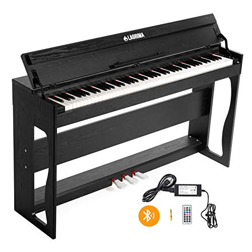 LAGRIMA 88 Key Weighted Digital Piano with Bluetooth & MP3 Function, Bundle w/Remote Control, Power Adapter and 3 Pedals, 2 Headphone/Midi/USB/MIC Output Feature