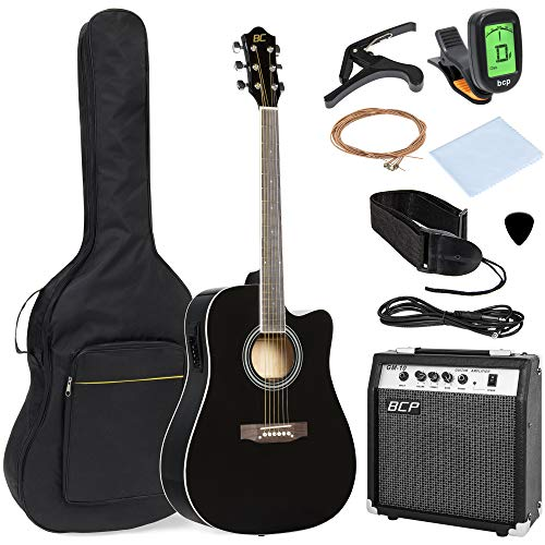 Best Choice Products 41in Full Size All-Wood Acoustic Electric Cutaway Guitar Musical Instrument Set w/ 10-Watt Amplifier, Capo, E-Tuner, Gig Bag, Strap, Picks, Extra Strings, Cloth – Black