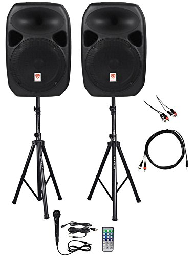 Rockville Power GIG RPG-122K All In One DJ/PA Package (2) 12″ DJ/PA Speakers 1000 Watts Peak Power/250 Watts RMS with Built in Bluetooth, USB/SD Player, FM Tuner, Speaker Stands and a Wired Microphone