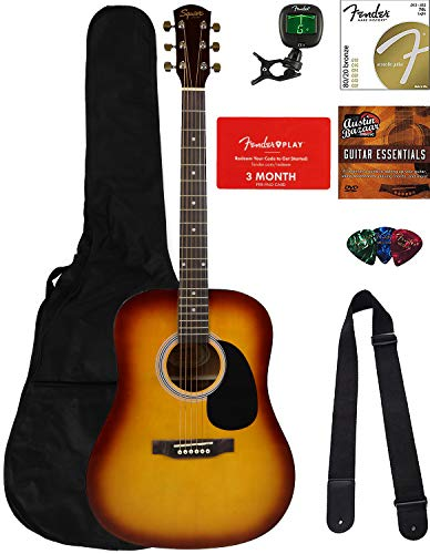 Fender Squier Dreadnought Acoustic Guitar – Sunburst Bundle with Fender Play Online Lessons, Gig Bag, Tuner, Strings, Strap, Picks, and Austin Bazaar Instructional DVD