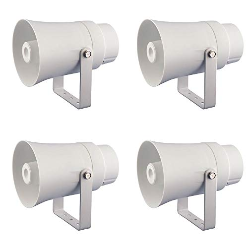 Pyle Aluminum 5.6 Inch Indoor and Outdoor PA Horn Speaker 70 Volt 8 Ohms, White (4 Pack)