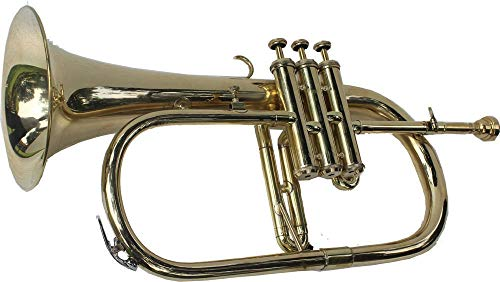 MEMORIERIEL DAY Flugelhorn Great Value 3-Valve Bb Natural Brass Flugelhorner Hardcase