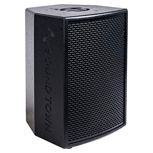 """Sound Town 10"""" 500W Powered DJ PA Speaker with Bluetooth, Titanium Compression Driver and 3-Channel Mixer for Mobile DJ, Live Sound, Karaoke, Bar, Church, Black (KALE-110BPW)"""
