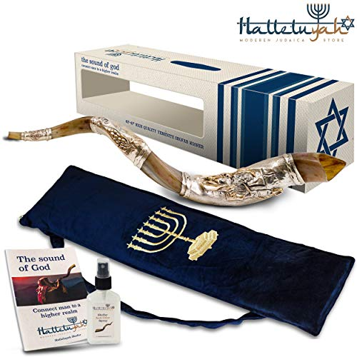 HalleluYAH Silver Plated Shofar Set: 28″-32″ Moses' Prayer Kudu Horn Kosher Shofar– Traditional Ancient Musical Instrument For Jewish Spiritual Ceremonies – Authentic Curved Made In Israel