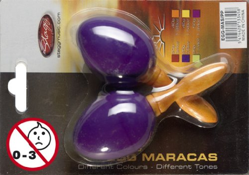 Stagg EGG-MA Plastic Egg Maracas Pair with Long Handle – Purple