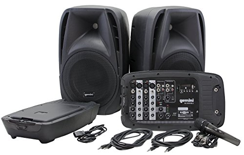 Gemini ES Series ES-210MXBLU Professional Audio Portable PA System with Two 10″ Passive Speakers and Microphone Included, 8 Channel Mixer, 4 Line/Mic Inputs