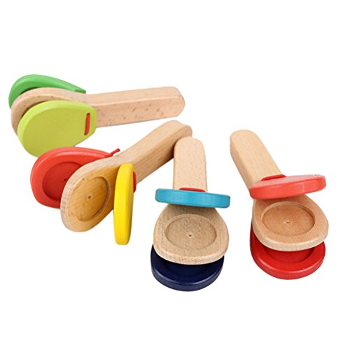 ROSENICE Wooden Toys Lovely Wooden Castanets Kids Wooden Clapper Educational Toy Musical Percussion for Baby Early Learning (Random Color)