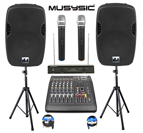 Complete Professional 2000 Watts Complete PA System 6 Ch Mixer 10″ Speakers Dual Wireless Mics Stand