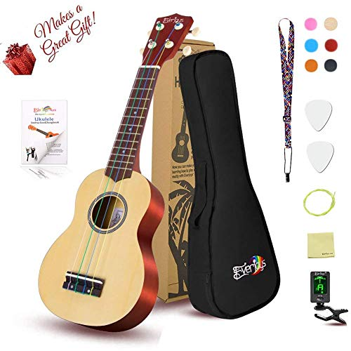 Everjoys Soprano Ukulele Beginner Pack-21 Inch w/ Gig Bag Fast Learn Songbook Digital Tuner All in One Kit (Rainbow String)