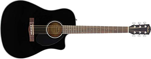 Fender CD-60SCE Acoustic-Electric Guitar – Dreadnought Body Style – Black Finish