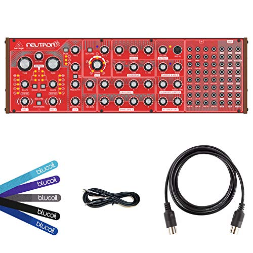 Behringer Neutron Analog Synthesizer Bundle with Hosa 3-Feet CMM-103 TRS to Same Stereo Interconnect Cables (2-Pack), Blucoil 5-Feet MIDI Cable and 5-Pack of Cable Ties