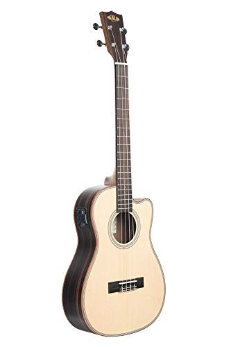 Kala KA-SSEBY-B-CE Solid Spruce Top, Striped Ebony Body Baritone A/E Ukulele