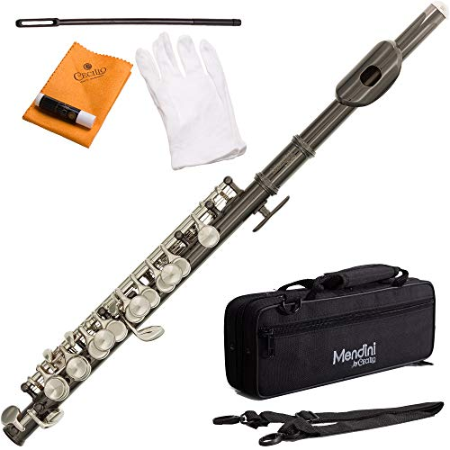 Mendini MPO Key of C Piccolo + Case, Joint Grease, Cleaning Cloth & Rod, Gloves (Black Nickel)