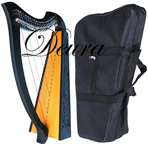 DEURA 22 STRINGS LEVERS BLACK HARP + BAG Irish Celtic Lap Folk MA-1030BK