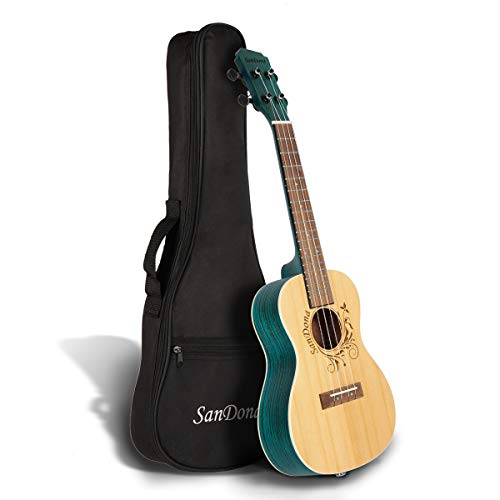 SANDONA Acoustic Electric Concert Ukulele 24 Inch Kit eUKC-141 | Spruce Top Zebrawood Back and Side| Under-Saddle Piezo Bridge Pickup, Strap, Aquila Strings, Digital Tuner and Gig bag | Isle