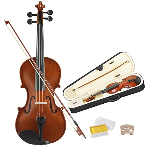LAGRIMA 4/4 Full Size Acoustic Violin Beginner Kit for Student with Hard Case, Bow, Rosin(Orange Red)